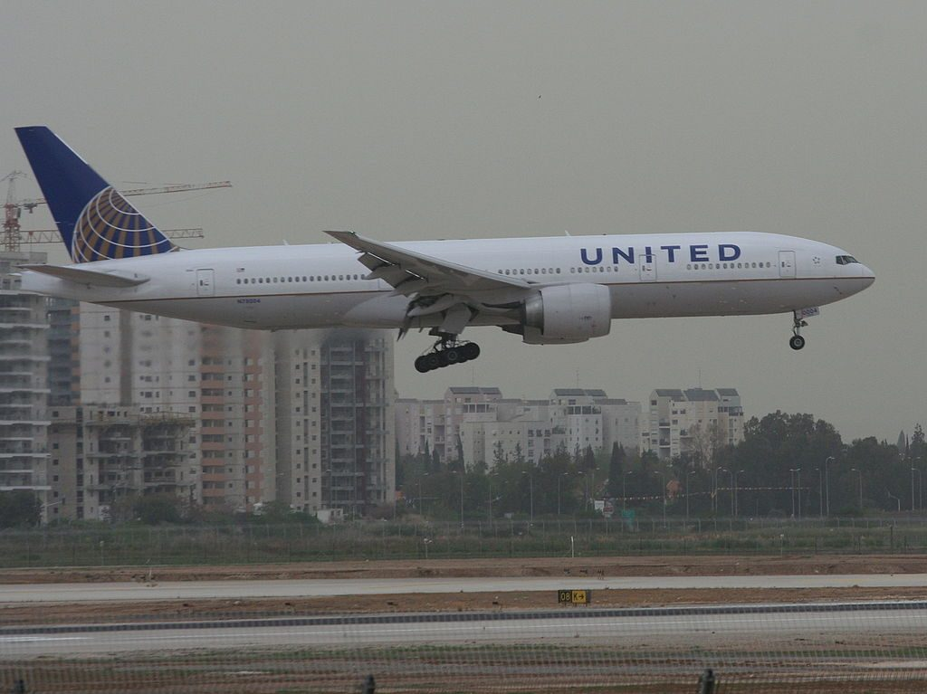 United Airlines Aircraft ex Continental N78004 Boeing 777 224ER cnserial number 27580169 on final at Ben Gurion International Airport IATA TLV ICAO LLBG Israel