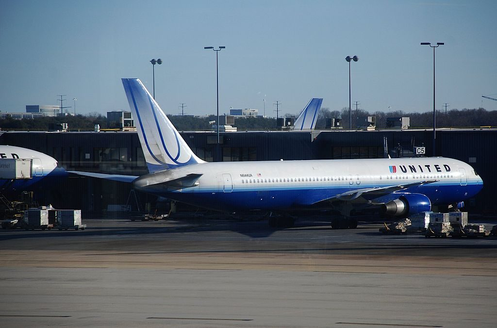 United Airlines Fleet Boeing 767 300ER N644UA parking at IAD Washington Dulles International Airport