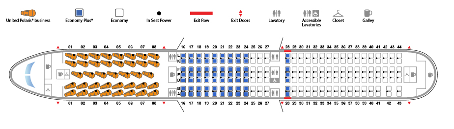 United Airlines Fleet Boeing 767 400ER 764 Seat map 39201 configuration