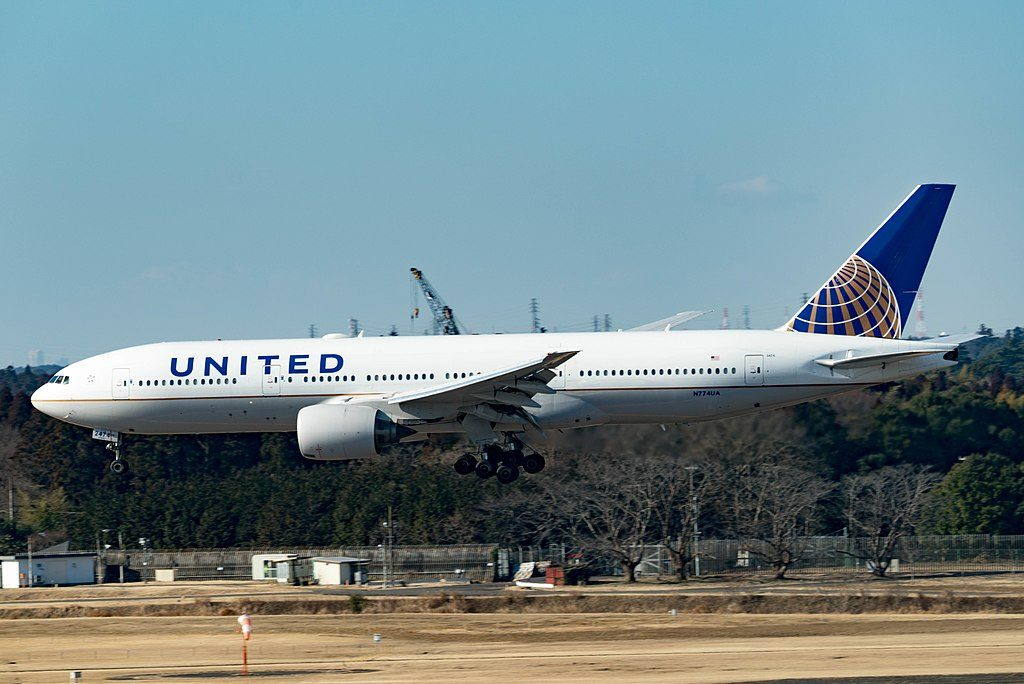United Airlines Fleet Boeing 777 222 N774UA short final before landing at Tokyo Narita Airport