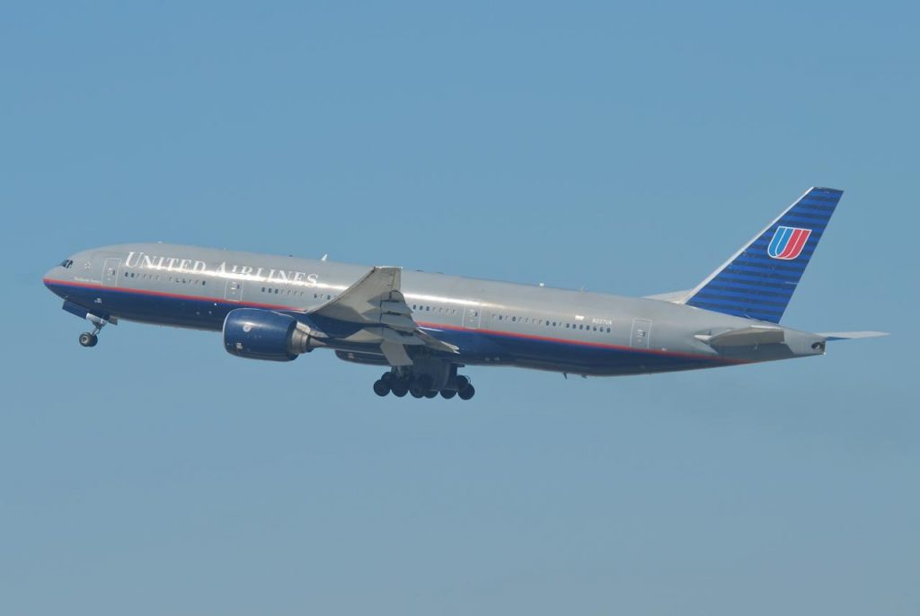 United Airlines Fleet Boeing 777 222ER N227UA on old battleship grey livery colors departing LAX