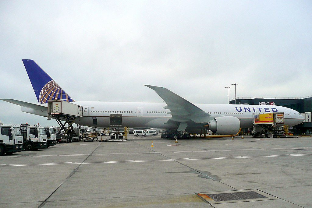 United Airlines Fleet N2136U Boeing 777 322ER cnserial number 626481477 parking at Heathrow Airport IATA LHR ICAO EGLL