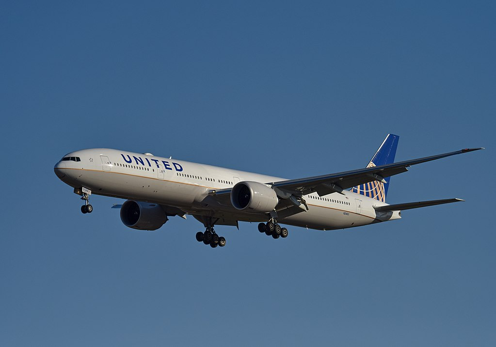 United Airlines Fleet N2140U Boeing 777 322ER cnserial number 626511489 wide body aircraft on final approach at Beijing Capital International Airport IATA PEK ICAO ZBAA