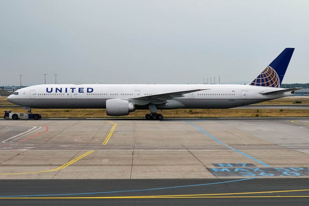 United Airlines Fleet N2140U Boeing 777 322ER cnserial number 626511489 wide body aircraft taxiing on runway at LHR Airport