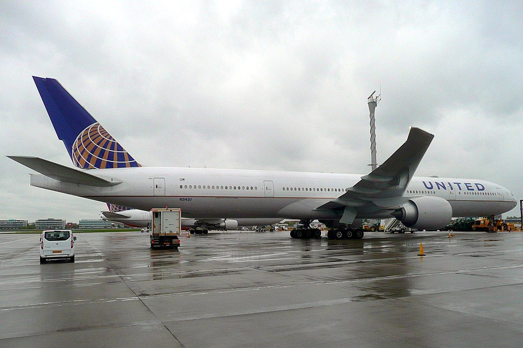United Airlines Fleet N2142U Boeing 777 322ER long haul wide body aircraft at LHR Airport