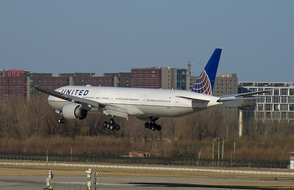 United Airlines Fleet N2333U Boeing 777 322ER cnserial number 626441466 22Spirit of Hilarity22 long haul wide body aircraft landing at Beijing Capital International Airport IATA PEK ICAO ZBAA