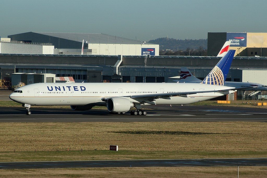 United Airlines Fleet N2534U Boeing 777 322ER cnserial number 626451470 long haul wide body aircraft departure Heathrow Airport IATA LHR ICAO EGLL