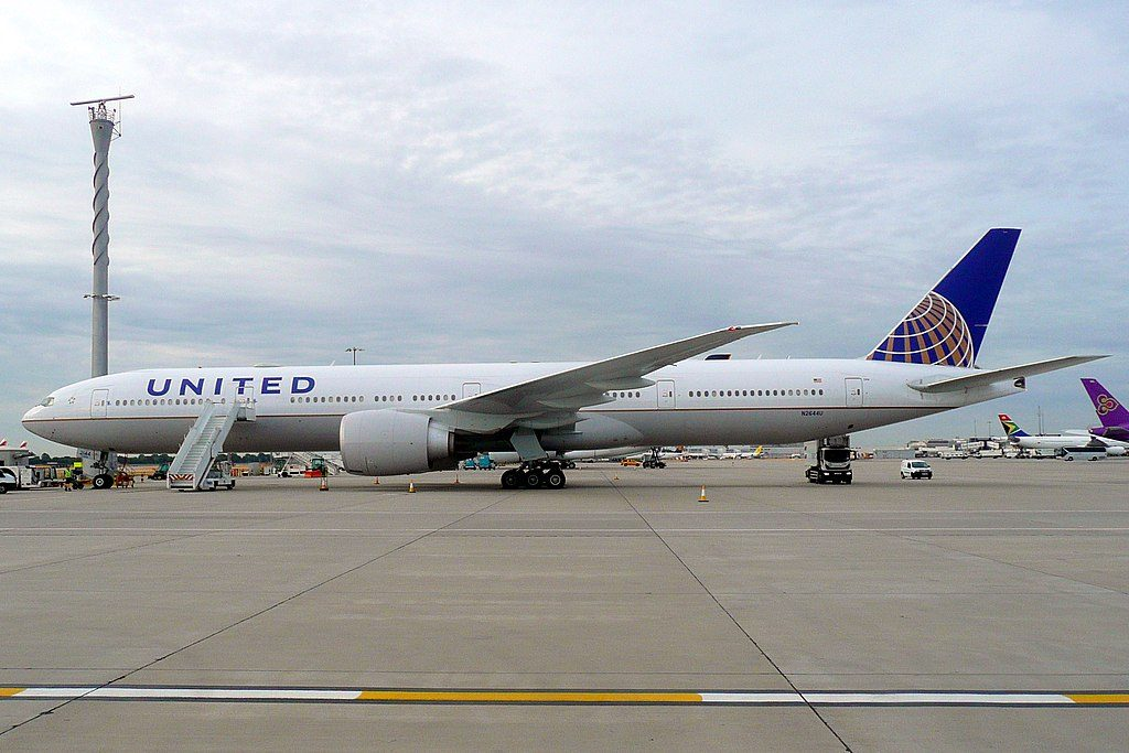 United Airlines Fleet N2644U Boeing 777 322ER cnserial number 637241504 long haul wide body aircraft parked at Heathrow Airport IATA LHR ICAO EGLL