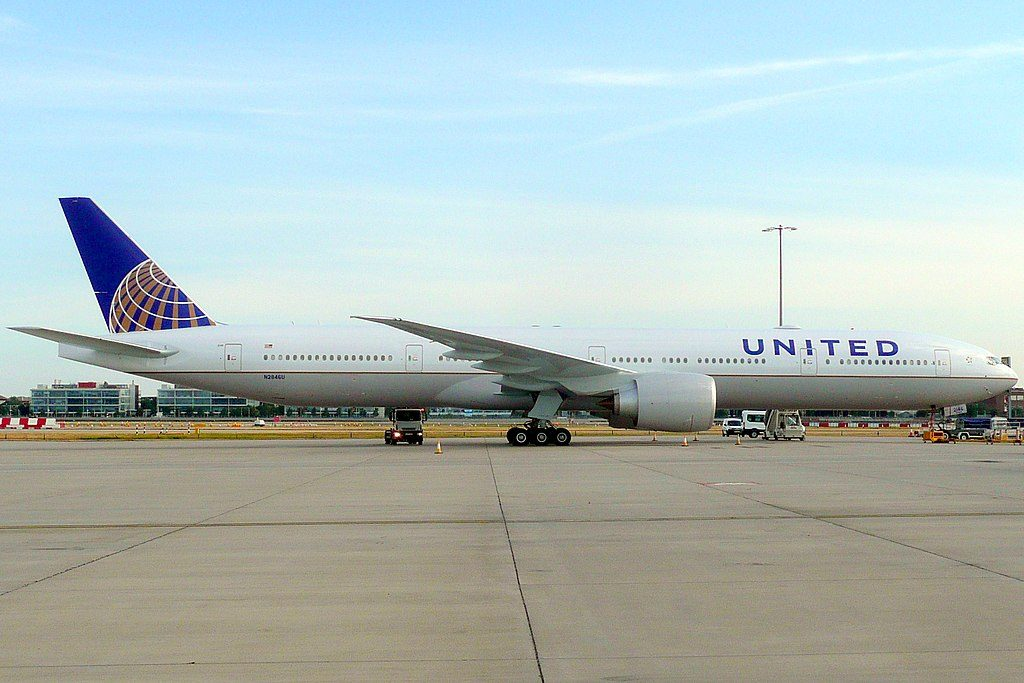 United Airlines Fleet N2846U Boeing 777 322ER cnserial number 649901550 long haul wide body aircraft parking after arrival at Heathrow Airport IATA LHR ICAO EGLL