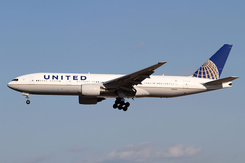 United Airlines Fleet Widebody Aircraft B777 200ER N782UA on final before landing at Narita International Airport Japan