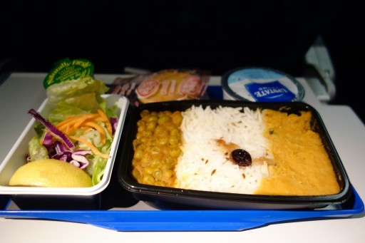 United Airlines Fleet Widebody Aircraft Boeing 777 200 Economy Class Cabin Inflight Amenities MealFoodDinner menu Hindu meal