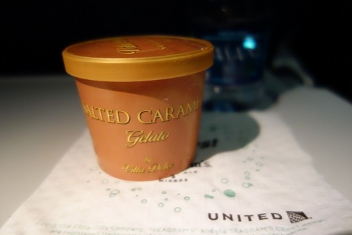 United Airlines Fleet Widebody Aircraft Boeing 777 200 Economy Class Cabin Inflight Amenities dessert salted caramel gelato