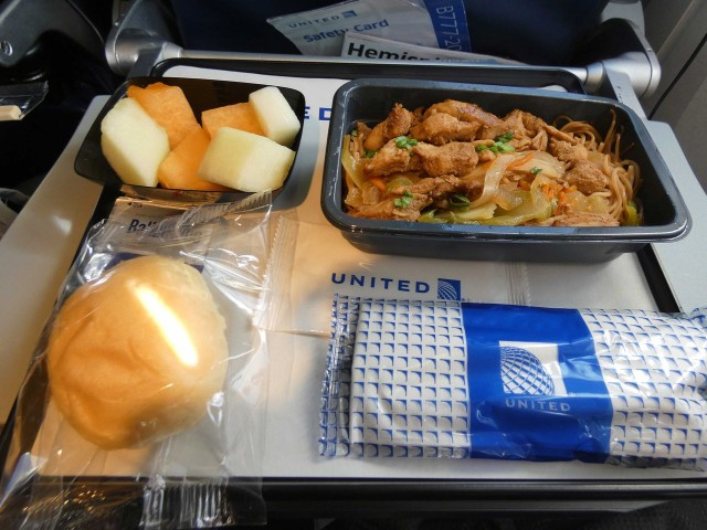 United Airlines Fleet Widebody Aircraft Boeing 777 200 Economy Class cabin inflight amenities mealfoodbreakfast menu philippine noodle