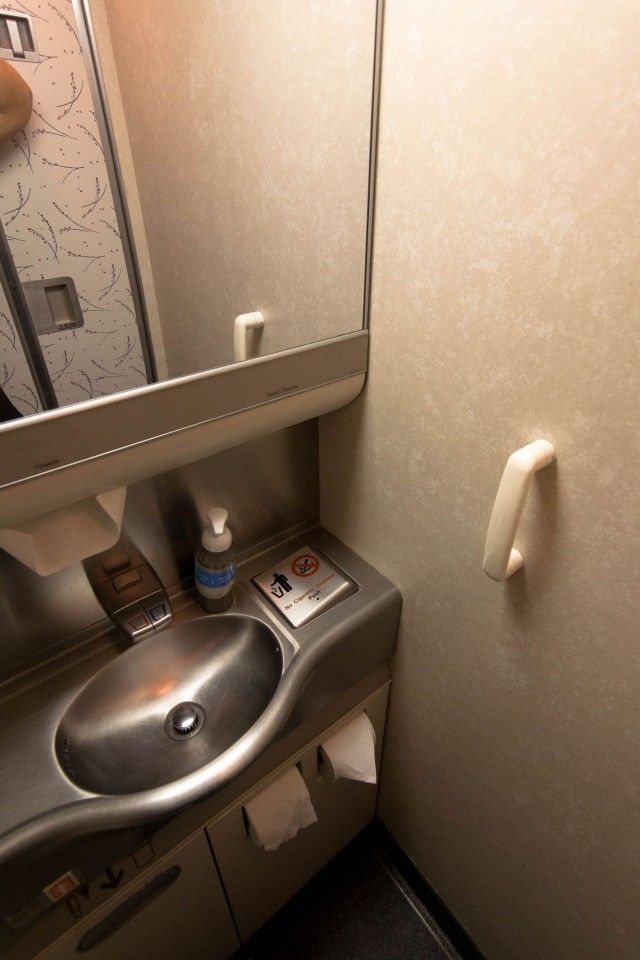 United Airlines Fleet Widebody Aircraft Boeing 777 200 Economy Class cabin long haul flight toilet bathroom lavatory photos 2