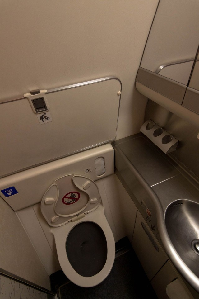 United Airlines Fleet Widebody Aircraft Boeing 777 200 Economy Class cabin long haul flight toilet bathroom lavatory photos