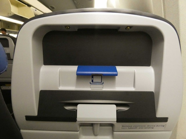 United Airlines Fleet Widebody Aircraft Boeing 777 200 Economy Class cabin refurbished seats equipped with tablet holder instead IFE