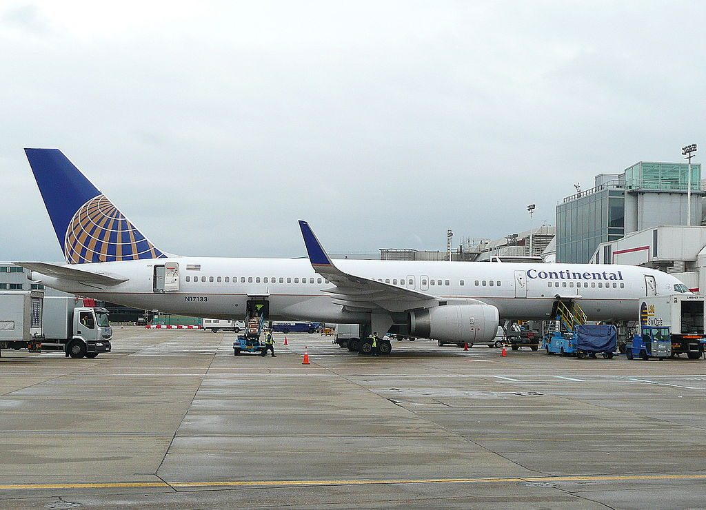 United Airlines Fleet (ex-Continental Micronesia) N17133 Boeing 757-224 cn:serial number- 29282:840 parking on boarding gate at Heathrow Airport (IATA- LHR, ICAO- EGLL)