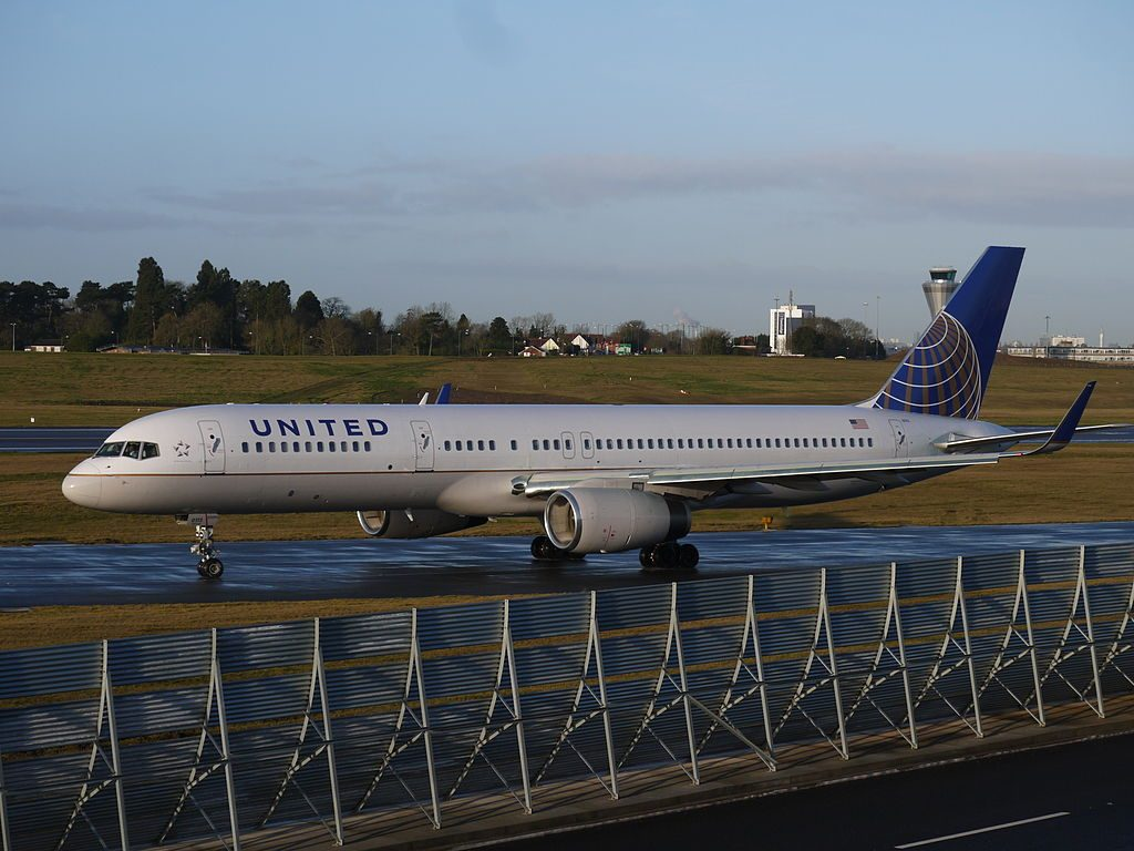 United Airlines Fleet ex Continental N13113 Boeing 757 224 cnserial number 27555668 takeoff and landing at Birmingham Airport IATA BHX ICAO EGBB