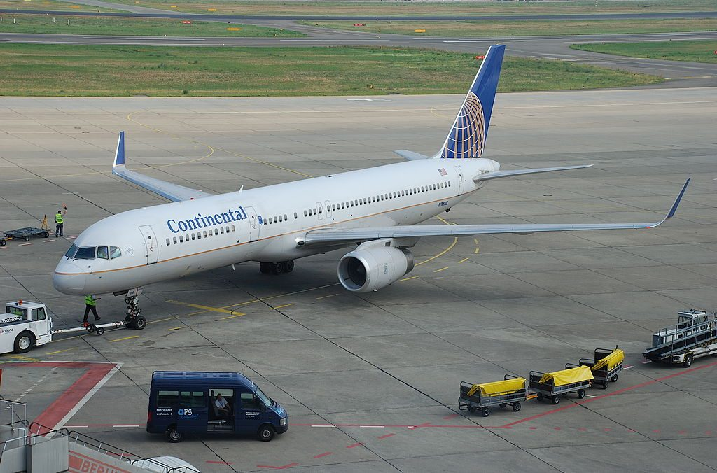 United Airlines Fleet (ex-Continental) N14118 Boeing 757-224 cn:serial number- 27560:748 pushed back at Berlin Tegel Otto Lilienthal Airport (IATA- TXL, ICAO- EDDT)