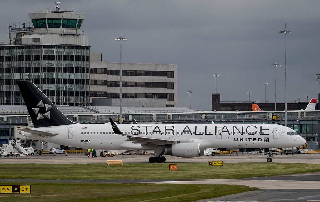 United Airlines Fleet (ex-Continental) N14120 Boeing 757-224(WL) cn:serial number- 27562:761 on STAR ALLIANCE livery colors at Manchester Airport