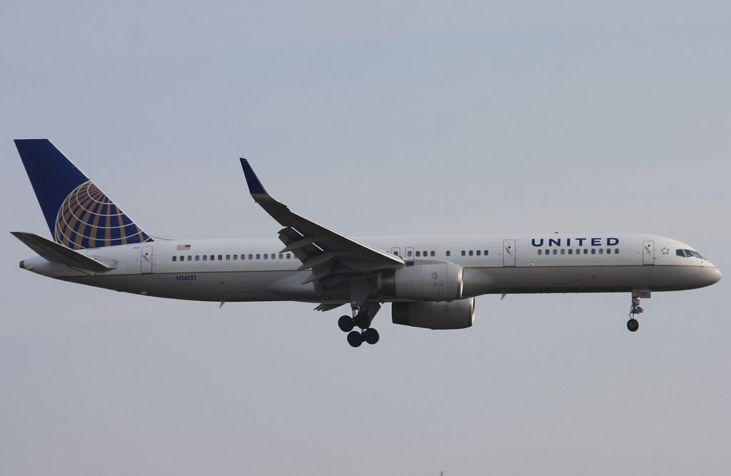 United Airlines Fleet ex Continental N14121 Boeing 757 224 cnserial number 27563766 on final before landing at London Heathrow LHR EGLL UK England