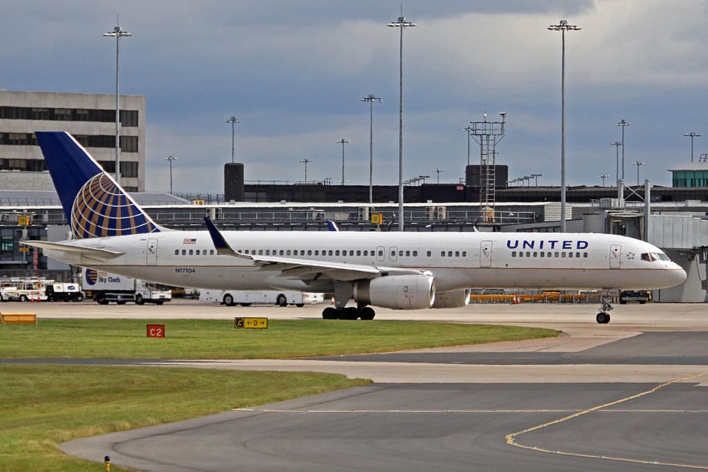United Airlines Fleet ex Continental N17104 Boeing 757 224wl cnserial number 27294629 taxiing at Manchester Airport IATA MAN ICAO EGCC
