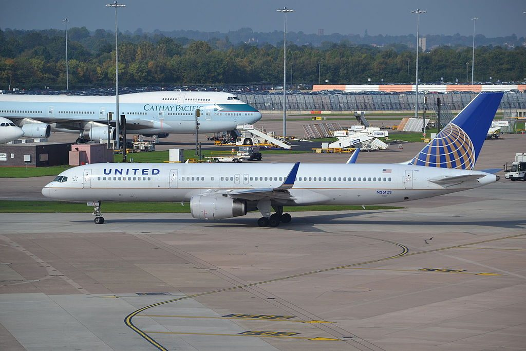 United Airlines Fleet (ex-Continental) N26123 Boeing 757-224w cn:serial number- 28966:781 taxiing at Manchester Airport