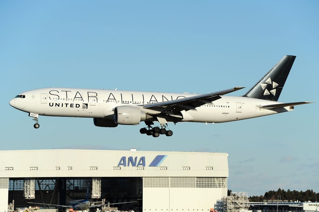United Airlines Fleet ex Continental N78017 Widebody Aircraft Boeing 777 224ER cnserial number 31679391 on STAR ALLIANCE livery landing at Tokyo Narita International New Tokyo NRT RJAA Japan