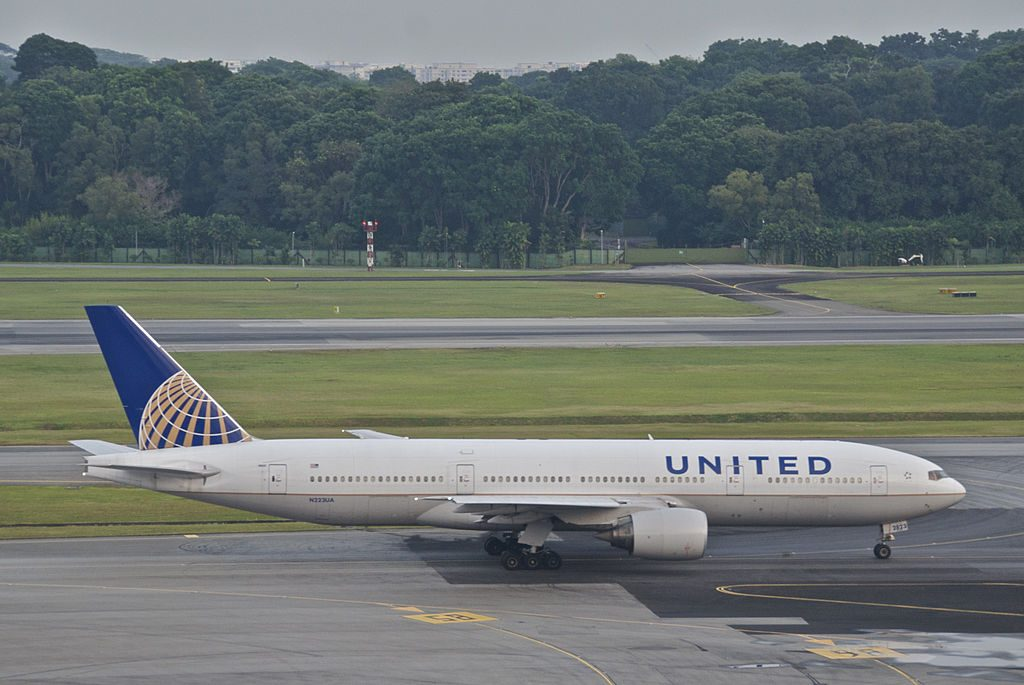 United Airlines Long Haul Aircraft Boeing 777 200ER N223UA at Changi Airport IATA SIN ICAO WSSS Singapore
