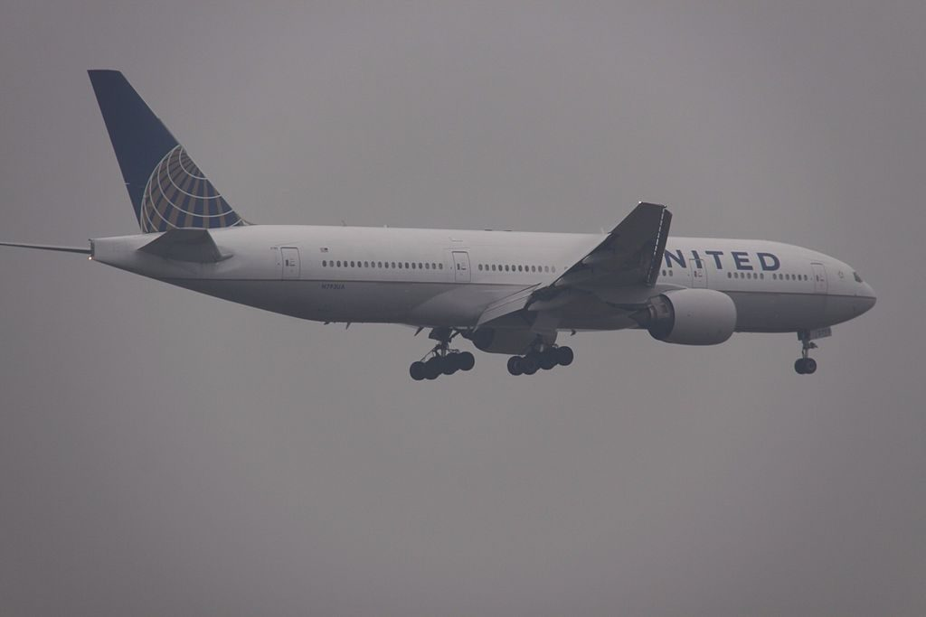 United Airlines Long Haul Aircraft N793UA Boeing 777 222ER cnserial number 2694697 on short final at Beijing Capital Airport China