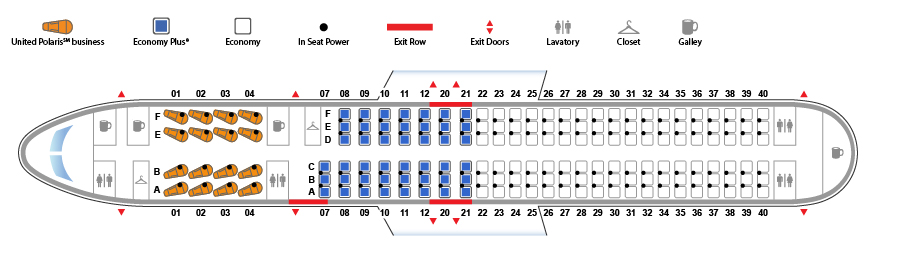 United Airlines Narrow Body Aircraft Boeing 757-200 Seat map (16:153 configuration)