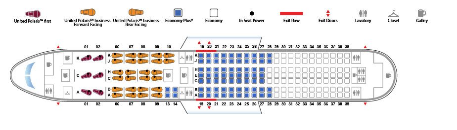 United Airlines Wide Body Aircraft Boeing 767 300ER Seat map version 1 626151 configuration