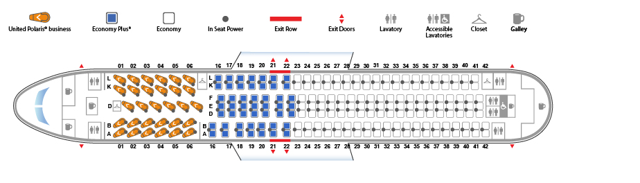 United Airlines Wide Body Aircraft Boeing 767 300ER Seat map version 2 Seat map 30184 configuration
