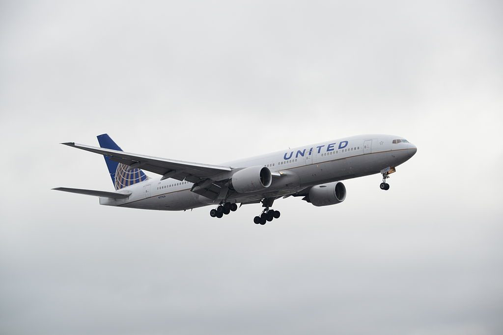 United Airlines Widebody Aircraft Boeing 777 200 N771UA on Final approach to LHR runway 27L