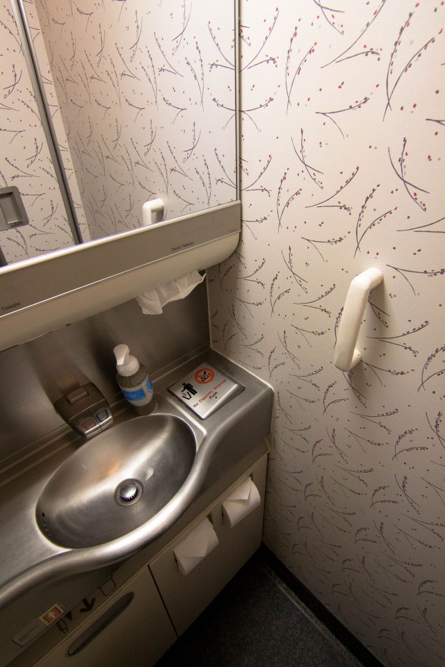 United Airlines Widebody Aircraft Boeing 777 200 regular economy class cabin toilet bathroom lavatory view photos 2