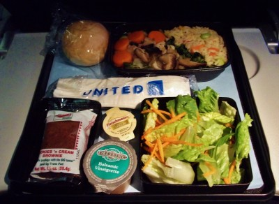United Airlines Widebody Aircraft Boeing 777 200ER Economy Class Cabin Inflight Amenities Food Meal Menu Services vegetable sukiyaki