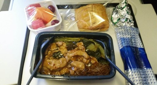 United Airlines Widebody Aircraft Boeing 777 200ER Economy Class Cabin meal choices Asian beehoon