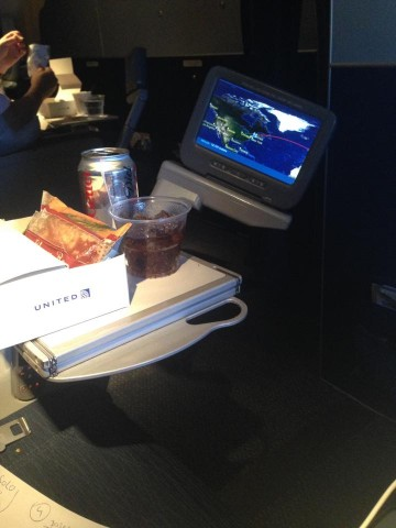 United Airlines Widebody Aircraft Boeing 777 200ER Economy Plus Premium Eco Cabin Pre Arrival Snacks and Drinks Services