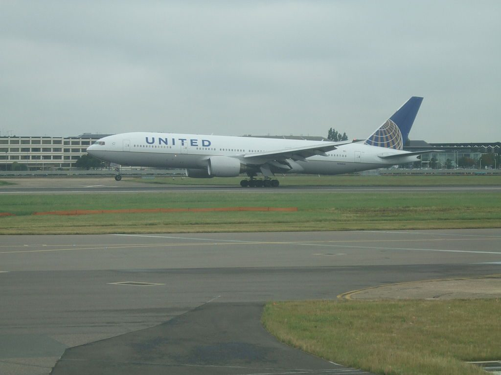 United Airlines Widebody Aircraft Boeing 777 222 N768UA landing on Runway 27R at London Heathrow Airport LHREGLL