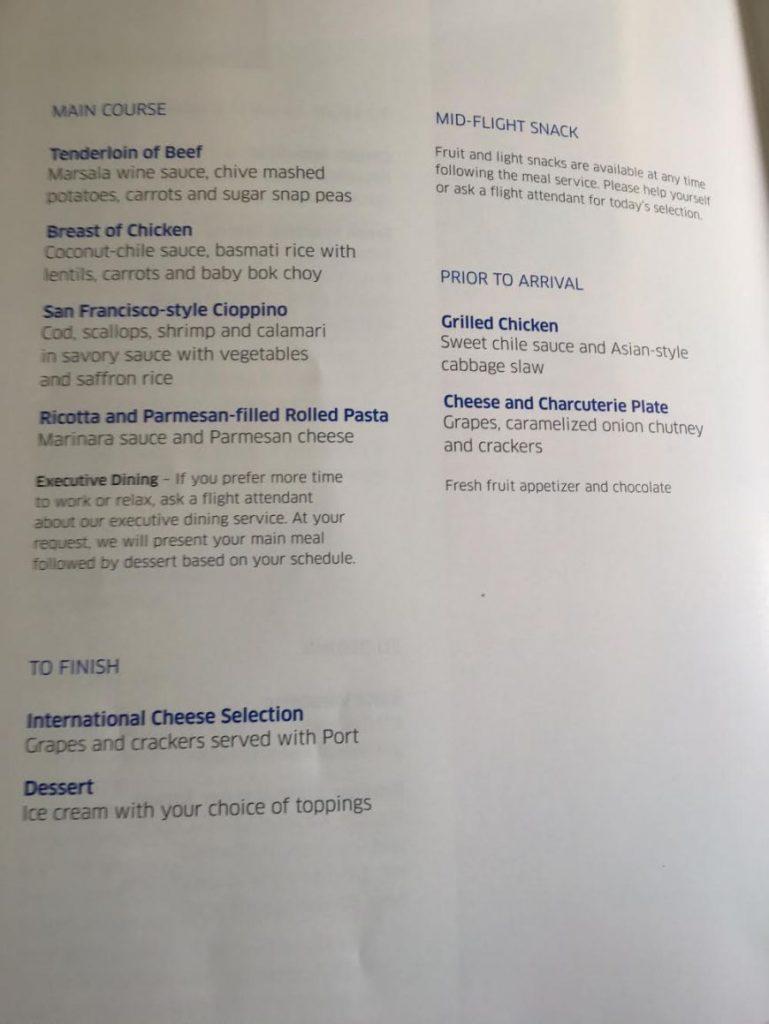 United Airlines Widebody Aircraft Fleet Boeing 767 400ER Business FirstPolaris Business Cabin MealFood Menu Book Option Photos 2
