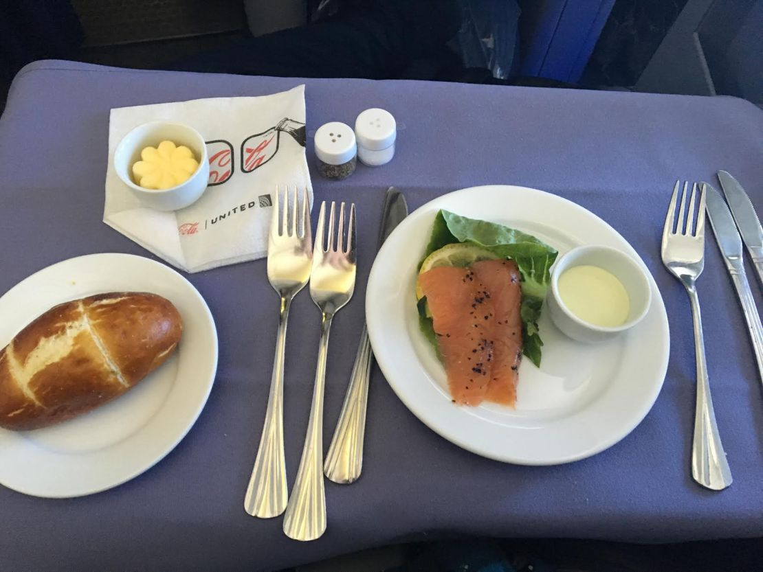 United Airlines Widebody Aircraft Fleet Boeing 767 400ER Business FirstPolaris Business Cabin first course meal Chilled Appetizer peppered smoked salmon dish