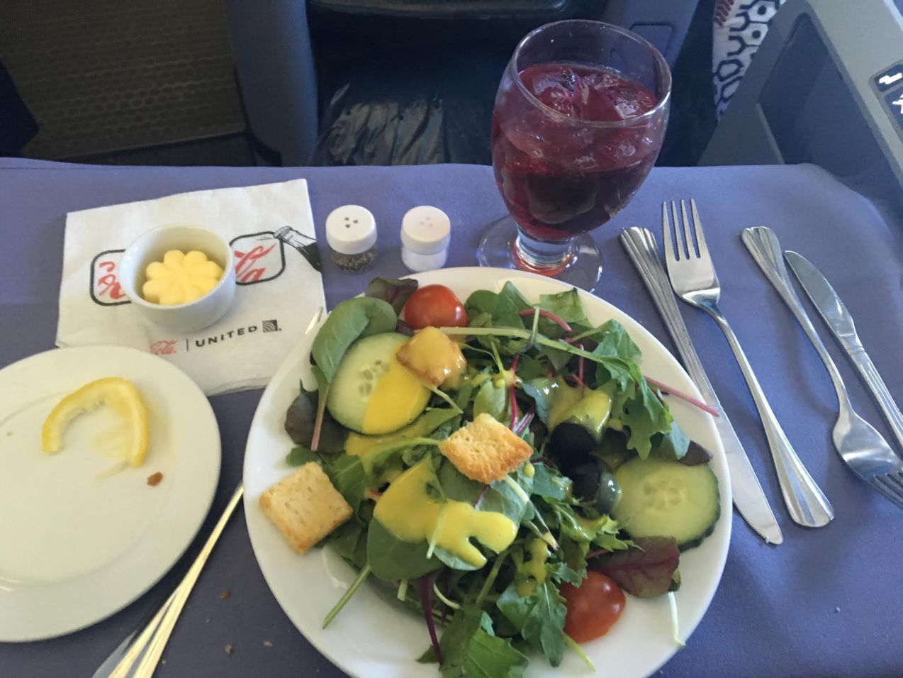 United Airlines Widebody Aircraft Fleet Boeing 767 400ER Business FirstPolaris Business Cabin meal services salad was slightly less impressive