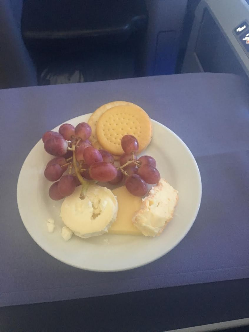 United Airlines Widebody Aircraft Fleet Boeing 767 400ER Business FirstPolaris Business Cabin mealfood services cheese was served with champagne grapes and port for the adults