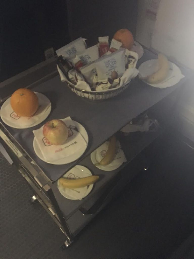 United Airlines Widebody Aircraft Fleet Boeing 767 400ER Business FirstPolaris Business Cabin snacks chips and hot cookies in the galley