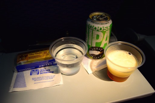 United Airlines Widebody Aircraft Fleet Boeing 767 400ER Standard Economy Class Cabin Inflight Amenities drinks cheese and crackers services