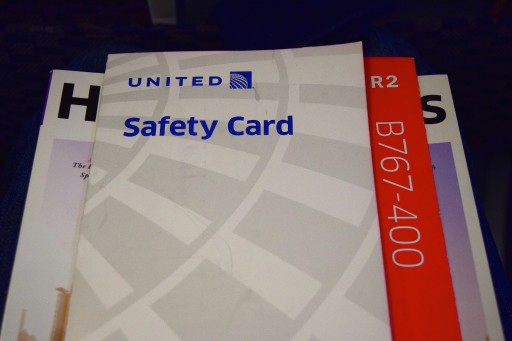 United Airlines Widebody Aircraft Fleet Boeing 767 400ER Standard Economy Class Cabin Safety card