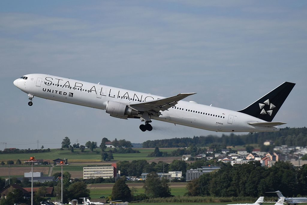 United Airlines Widebody Aircraft Fleet ex Continental Boeing 767 424ER cnserial number 29450826 N76055 in Star Alliance livery departing at zurich airport