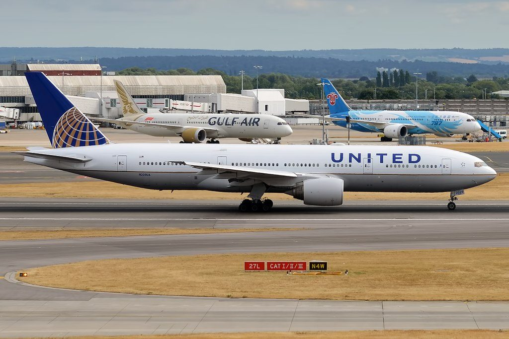 United Airlines Widebody Aircraft N229UA Boeing 777 222ER taxiing at Heathrow Airport IATA LHR ICAO EGLL