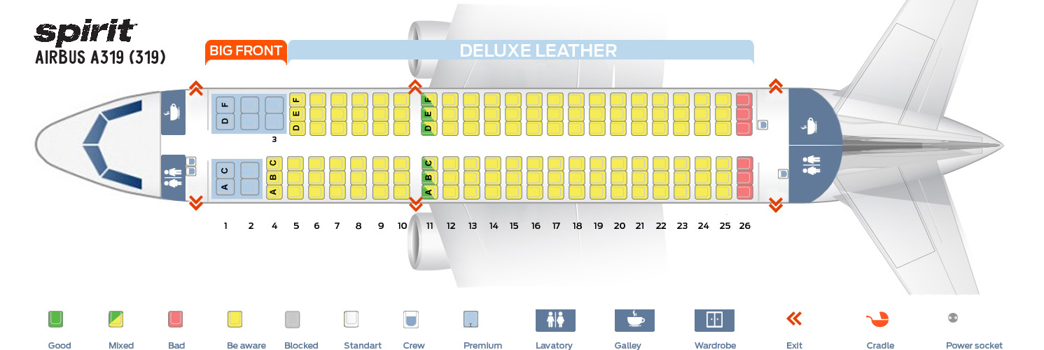 Airbus A319 100 Seating Chart and Seat Map of Spirit Airlines