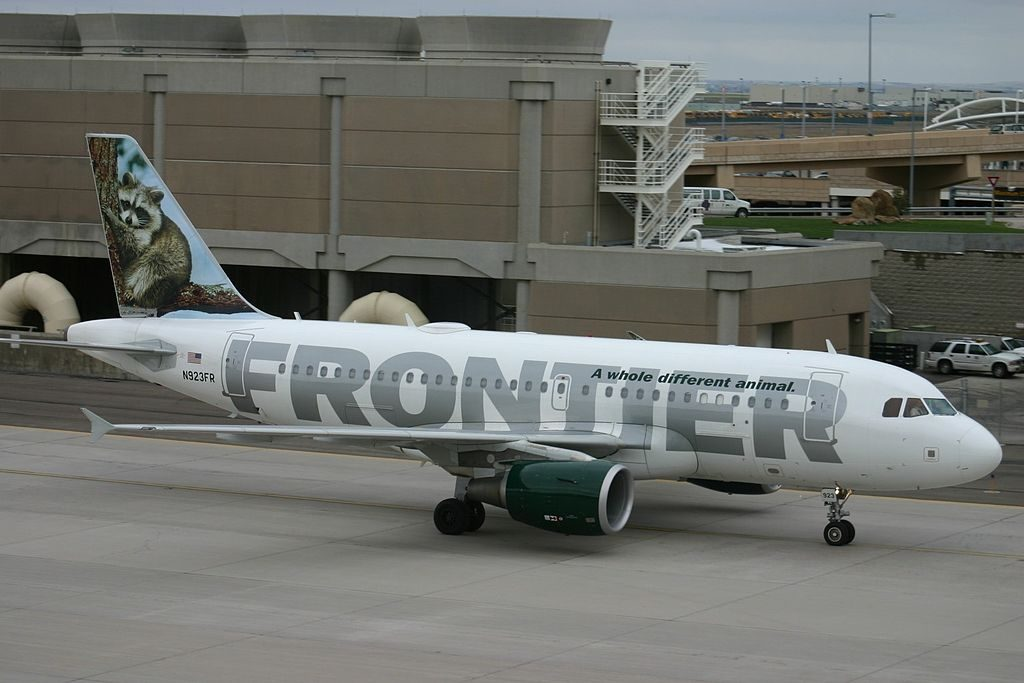 Airbus A319 111 cnserial number 2019 Frontier Airlines Fleet N923FR Rudy raccoon at Denver International Airport